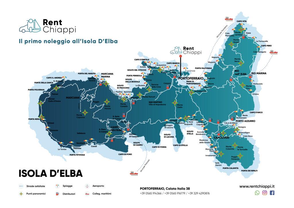 Mappa Isola D'Elba - Rent Chiappi